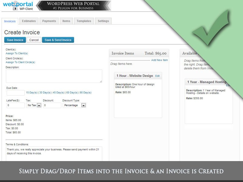 Wordpress Client Portal Area Invoicing  Project Management